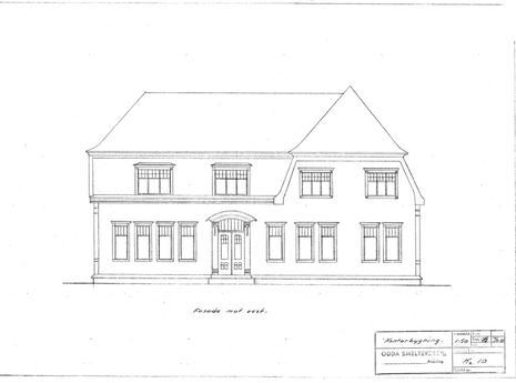 Tegning av hovedkontor nord, fasade vest