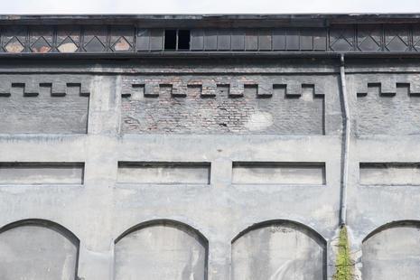 Detalj av vegg på råcyanamidesilo