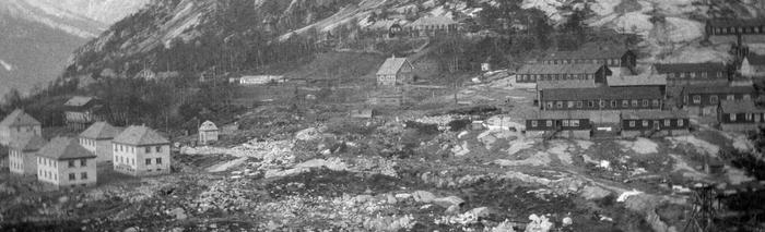 Kvernhusteigen og Brakkebyen i Tyssedal i 1924