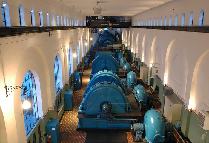 Turbinhallen i kraftstasjonen Tysso 1