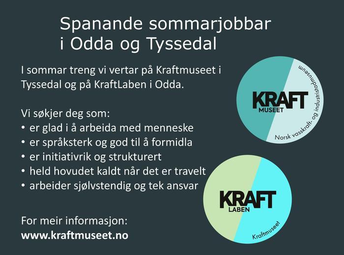 Annonse for sommarjobb Kraftmuseet og KraftLaben